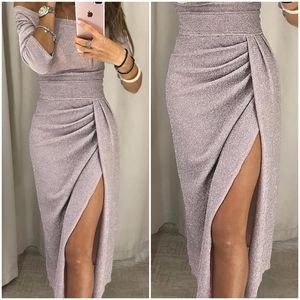 CBR Off Shoulder Thigh Slit Shimmer Dress, Size S